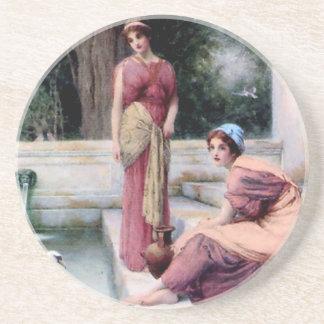 Two Women Swan painting Sandstone Coaster