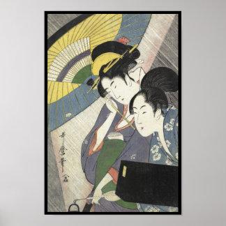 Two Women Under an Umbrella Kitagawa Utamaro art Poster