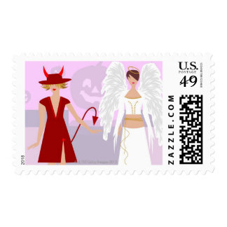 Two women wearing costumes postage