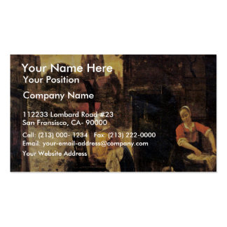 Two Women With A Child In The Yard By Pieter De Ho Business Card Templates