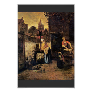 Two Women With A Child In The Yard By Pieter De Ho Poster
