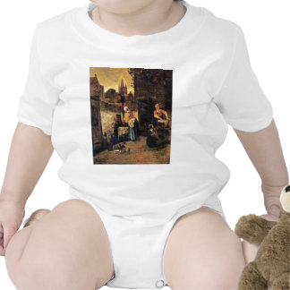 Two Women With A Child In The Yard By Pieter De Ho Tshirt