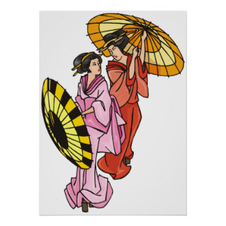 Two Women With Umbrellas Poster