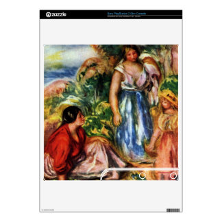 Two women with young girls in a landscape - Renoir PS3 Slim Skin