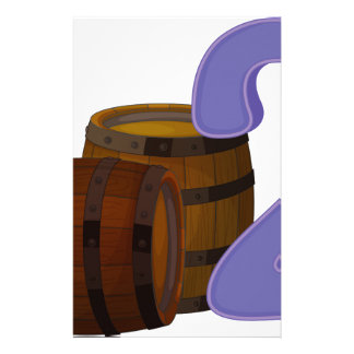 Two wooden barrels stationery