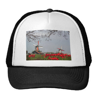 Two-working-windmills-at-Zaanse-Schans-Holland-Ang Trucker Hat