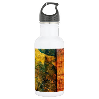 Two worlds meet / Faded text 18oz Water Bottle