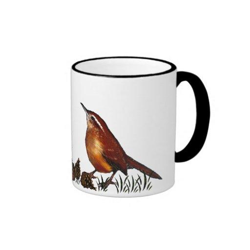 Two Wrens, Pine Cones: Oil Pastel, Freehand Art Mug
