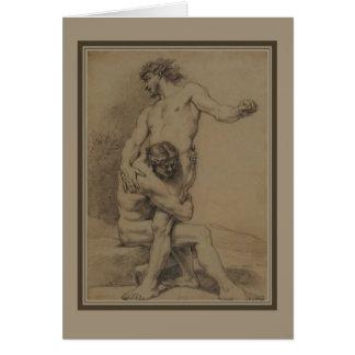 Two Wrestlers by de Platte-Montagne Card