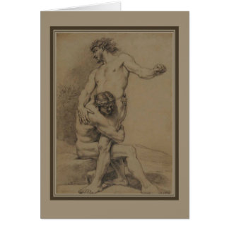 Two Wrestlers by de Platte-Montagne Stationery Note Card