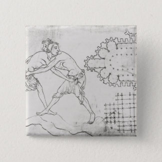 Two wrestlers, plan of a Cistercian church Button