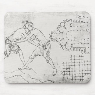 Two wrestlers, plan of a Cistercian church Mouse Pad