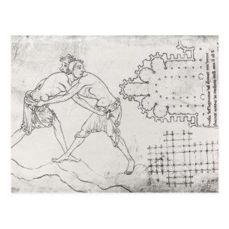 Two wrestlers, plan of a Cistercian church Postcard