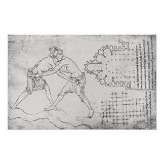Two wrestlers, plan of a Cistercian church Print