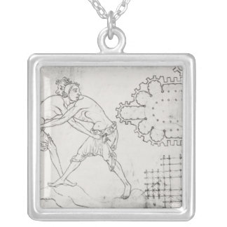 Two wrestlers, plan of a Cistercian church Silver Plated Necklace