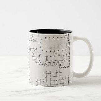 Two wrestlers, plan of a Cistercian church Two-Tone Coffee Mug