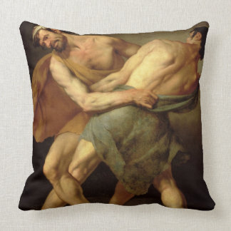 Two Wrestlers Throw Pillow