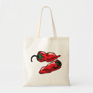 Two Wrinkled Red Peppers  Stems Graphic Tote Bags