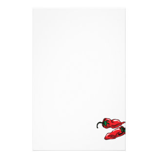 Two Wrinkled Red Peppers  Stems Graphic Stationery