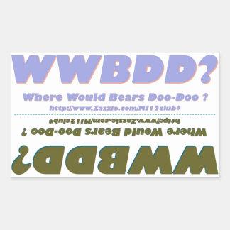 Two WWBDD? Mini Bumper Strickers in One Rectangular Sticker