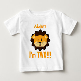 Two Year 2nd Birthday Boy or Girl with Lion V09 Tee Shirt
