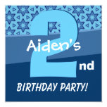 Two Year Old  Birthday Blue Stars For Boy W724 Personalized Invite
