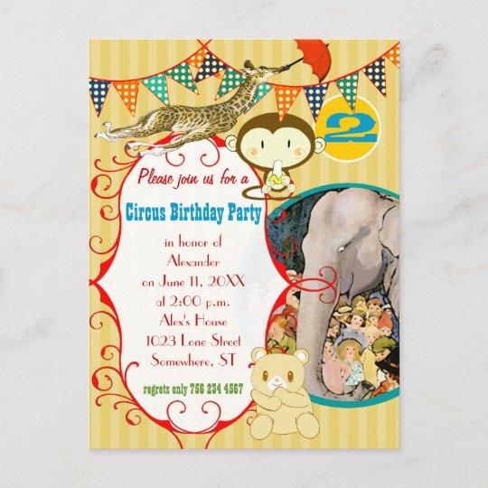 Two Year Old Circus Elephant Monkey Giraffe Party Invitation Postcard