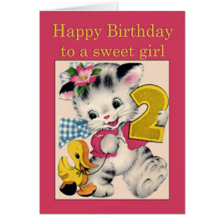 Two year old girl Birthday Card cat and duck