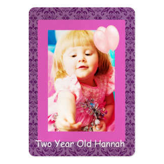Two Year Old Girls Birthday Photo Cards Business Card Template