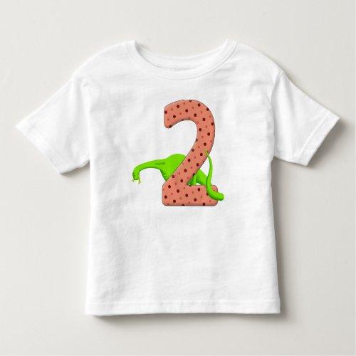 Two Year Old Green Dinosaur Toddler T_shirt