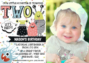 Two Year Old Monster Birthday Invitation