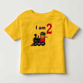 Two year old toy train birthday boy toddler t-shirt