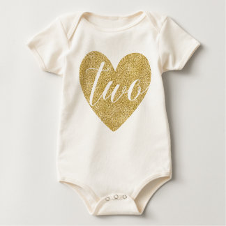 Two Years Old Baby| Glitter Heart-Print Baby Bodysuit