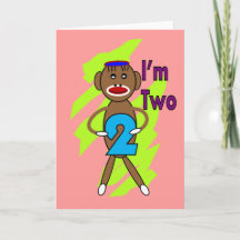 Two yeart Old Kids Birthday--Sock Monkey Design Card
