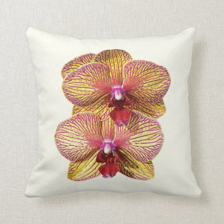 Two Yellow and Magenta Orchids Throw Pillow