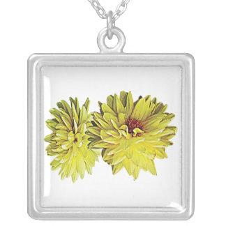 Two Yellow Dahlias Square Pendant Necklace