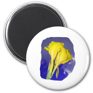 Two Yellow Flowers Blue Sky 2 Inch Round Magnet