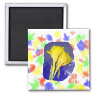 Two Yellow Flowers Blue Sky 2 Inch Square Magnet
