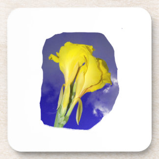 Two Yellow Flowers Blue Sky Beverage Coaster