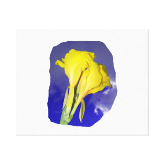 Two Yellow Flowers Blue Sky Canvas Print