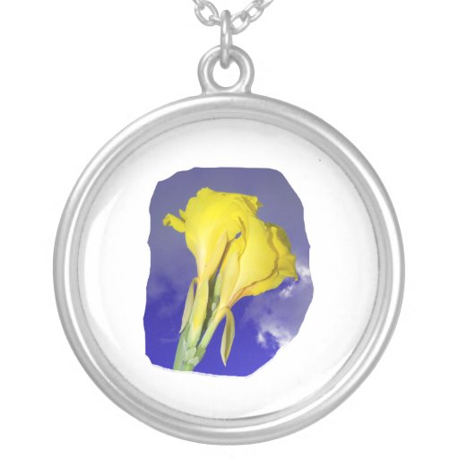 Two Yellow Flowers Blue Sky Necklace