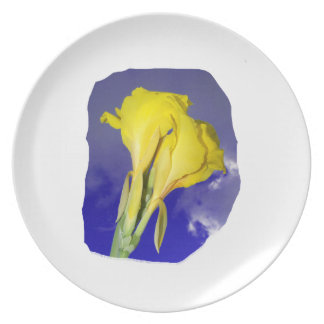 Two Yellow Flowers Blue Sky Plate