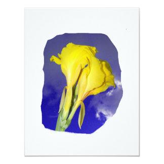 Two Yellow Flowers Dark Blue Sky Photo 4.25x5.5 Paper Invitation Card