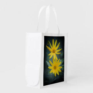 Two yellow flowers of Jerusalem artichoke Grocery Bag