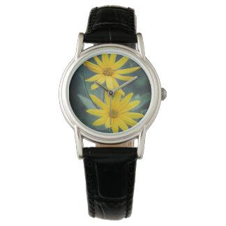 Two yellow flowers of Jerusalem artichoke Wristwatch