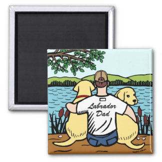 Two Yellow Labradors and Dad Magnet
