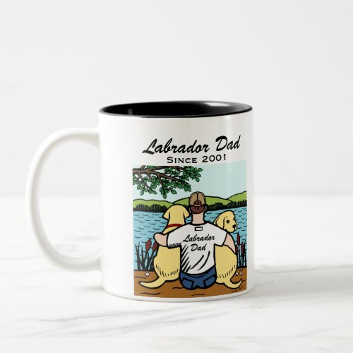 Two Yellow Labradors and Dad Two-Tone Coffee Mug