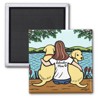 Two Yellow Labradors and Mom Long Leaves Magnet