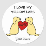 Two Yellow Labradors with Love Cartoon Round Sticker