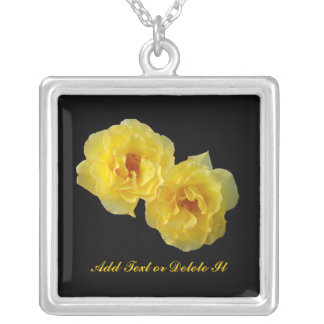 Two Yellow Roses Silver Plated Necklace